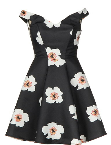 Vintage Black White Large Floral Print Pin-Up A-Line Dress