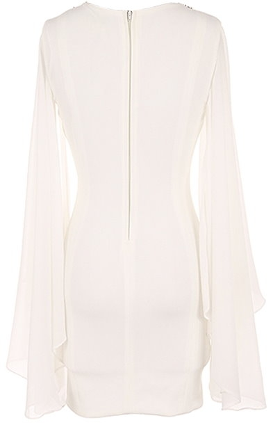 White Chiffon Sleeve Embellished Neck Bodycon Dress