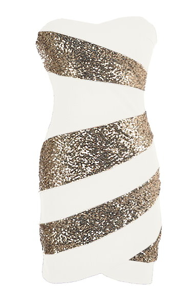 White Gold Sequin Strapless Bodycon Party Dress