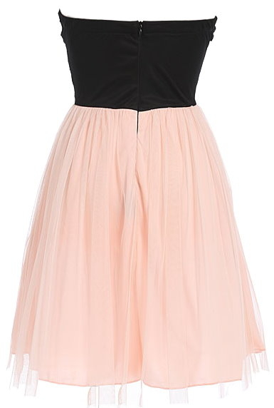 Black Peach Belted Tulle Hem Party Dress