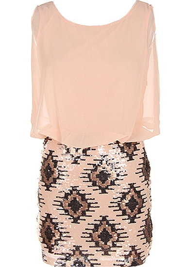 Sleeveless Peach Chiffon Sequin Skirt Flapper Party Twofer Dress