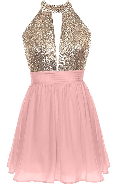 Pink Gold Sequin Halter Neck Short Skater Dress