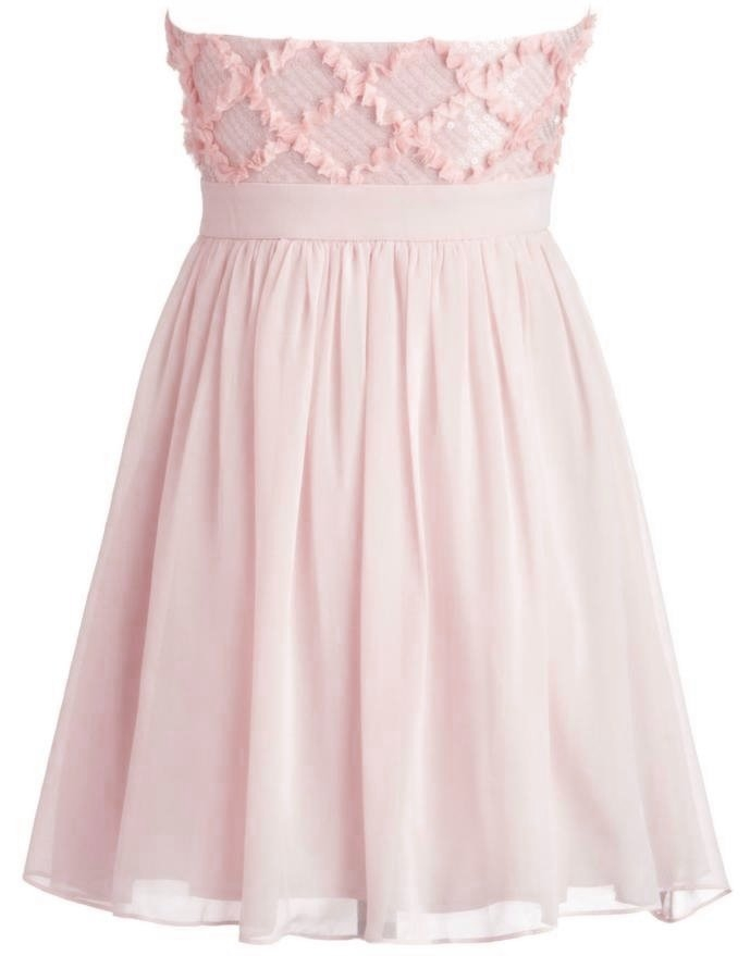Strapless Pink Silk Chiffon Empire Waist Prom Dress
