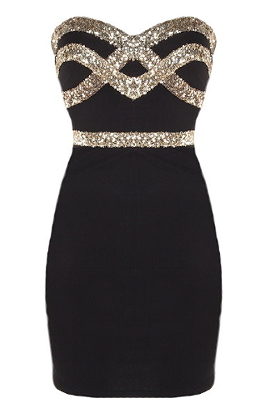 Black Gold Short Strapless Sequin Bodycon Dress