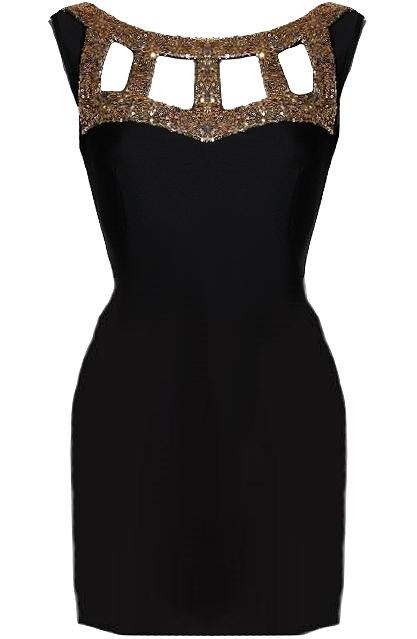 Black Gold Sequin Cage Neck Cap Sleeve Bodycon Dress