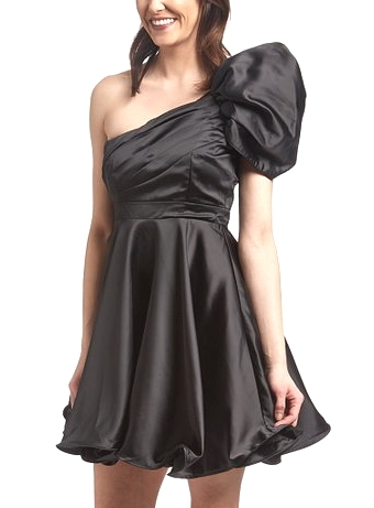 One-Shoulder Black Satin Empire Waist Fit-And-Flare Dress For Prom Homecoming