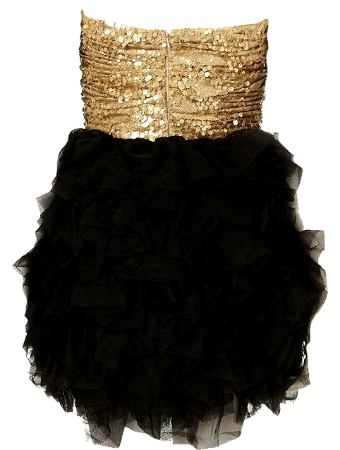 Gold Black Sequin Tutu Hem Homecoming Dress