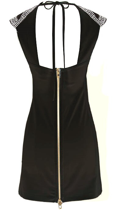 Cutout Neck Silver Black Fitted Mini LBD Dress