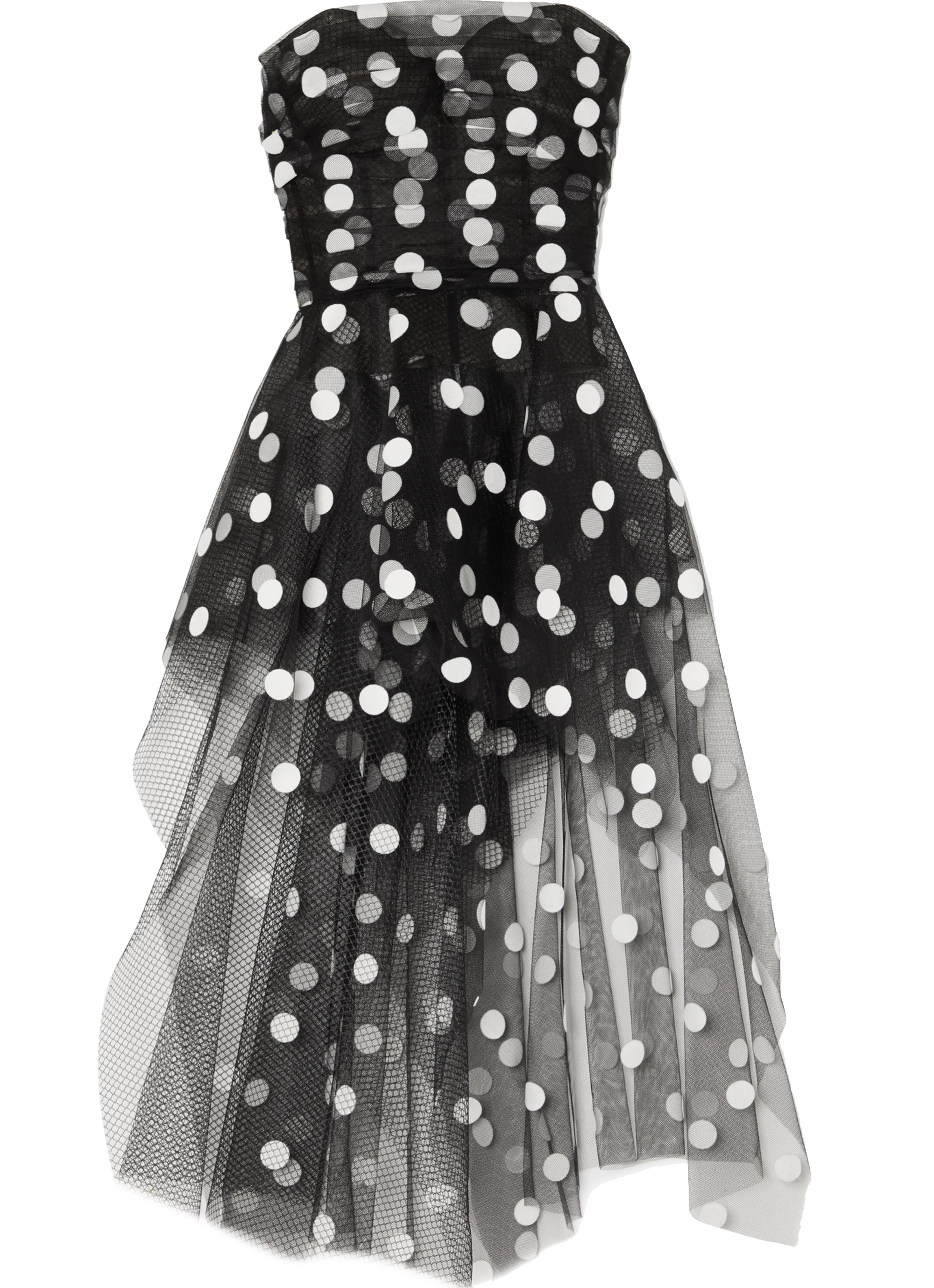 Strapless Mesh Polka Dot Asymmetric Oscar de la Renta Inspired Dress