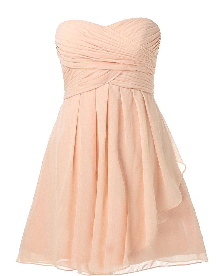 Strapless Pink Sweetheart Silk Chiffon Bridesmaid Dress By David's Bridal