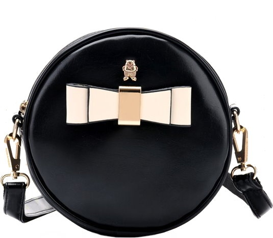 Round Black Contrast Bow Accent Circle Purse With Chain