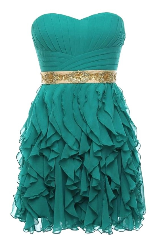 Short Strapless Green Ruffled Bridesmaid Dress