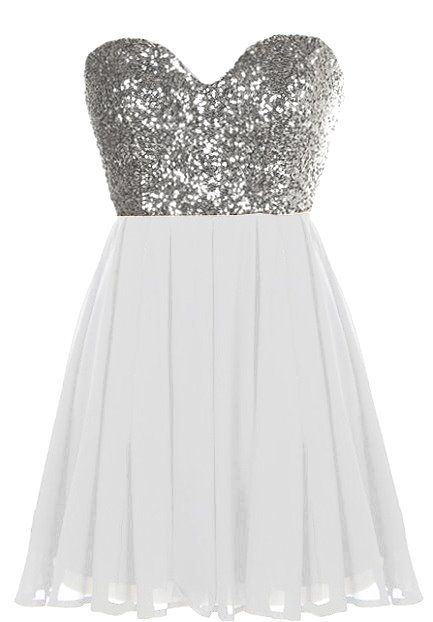 Silver Sequin Sweetheart Neck Strapless White Chiffon Micro Mini Party Dress