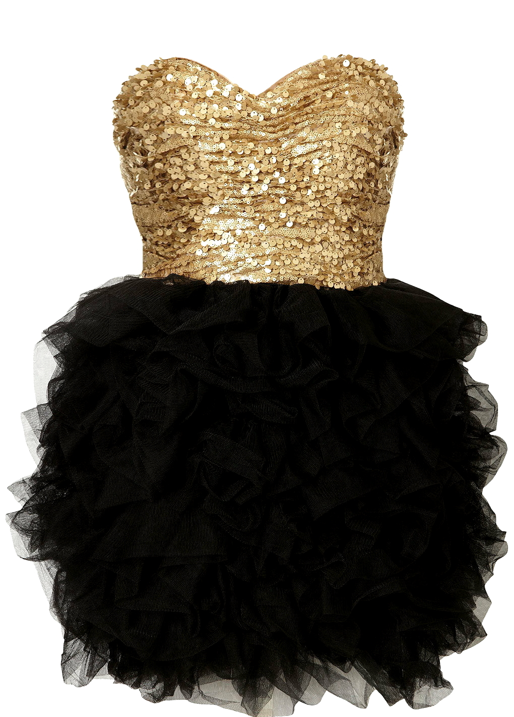 Strapless Sequin Gold Black Sweetheart Bodice Ballerina Prom Dress