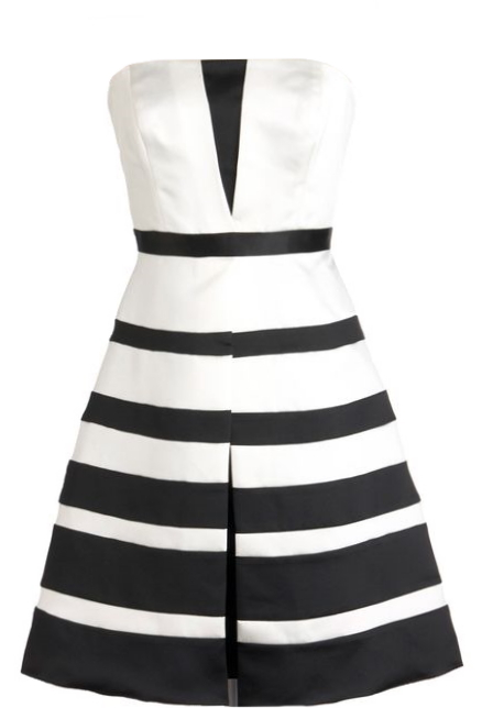 Strapless Black White Striped Fit And Flare Occasion Dress