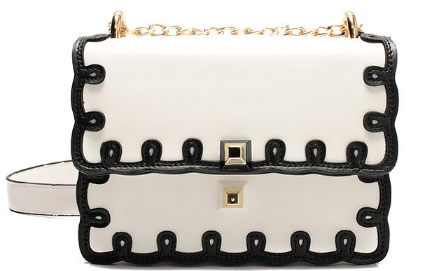 White Contrast Black Scallop Trim Bag Purse Handbag