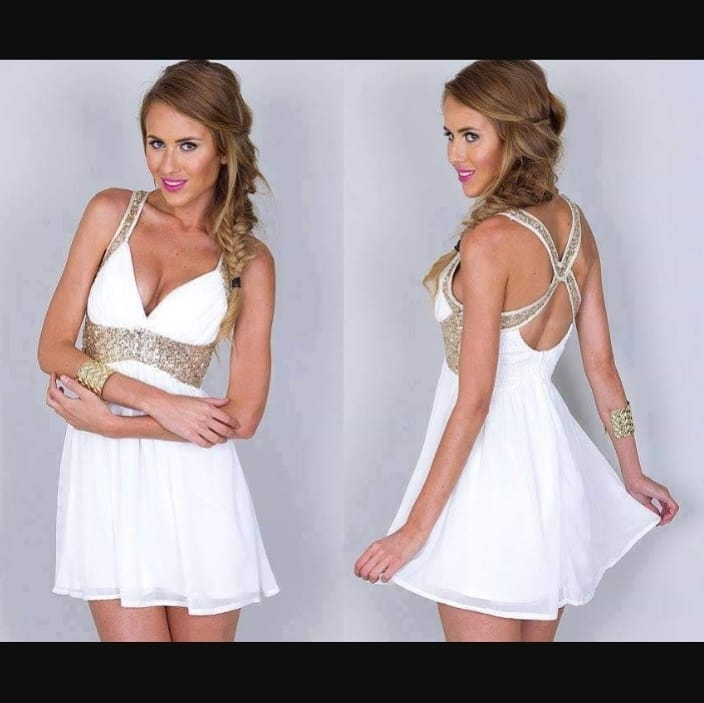 White Gold Sparkle Waist Cross-Back Fit-And-Flare Homecoming Dress