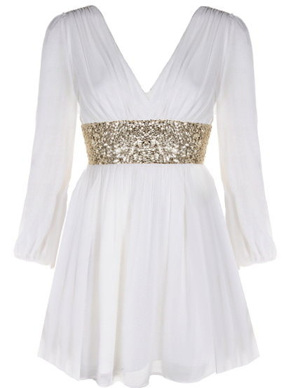 Double V-Neck Long Sleeve White Chiffon Gold Sequin Waist Dress