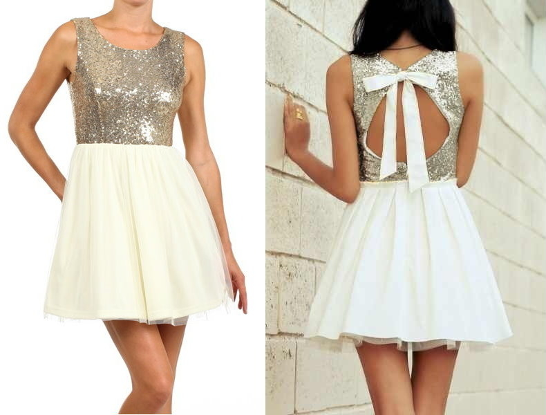 Cream Gold Sparkling Tie-Back Sequin Skater Dress