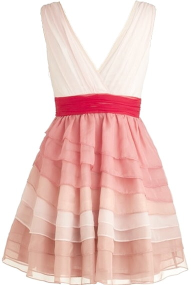 Red Pink White V-Neck Surplice Empire Waist Silk Tiered Fit-And-Flare Dress