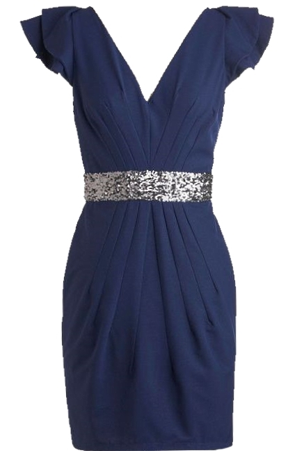 Navy Blue Sequin V-Neck Bodycon Dress